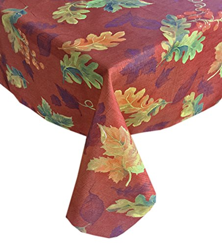 Thanksgiving Swaying Leaves Fall and Autumn Fabric Print Tablecloth, No Iron and Stain Resistant, 70 Inch Round, Brick