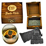 Deluxe Whisky Stones - Professional Quality Set of 6 Stones in a Beautiful Hand Made Box and Supple Velvet Bag - Never Water Your Drink Down Again! (1)