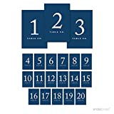 Andaz Press Table Numbers 1 - 20 on Perforated Paper, Navy Blue, 4x6-inch Single Sided Sign, 1-Set, For Weddings, Graduation