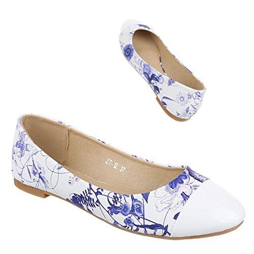 Ital-Design - Bailarinas Mujer Azul - azul y blanco