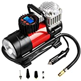 Tcisa Digital Air Compressor - A Great Inflating Tool for You!  1.3-in-1 multi-functional tool: inflate air, monitor tire pressure and LED night lighting. 2.Work with any DC 12V cigarette lighter socket. Plug directly into DC 12V cigarette li...