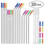 Stainless Steel Straws,Set of 16 FDA-Approved Reusable Drinking Straws for 30oz&20oz Tumbler, 10.5' 8.5' Metal Straws with 24 Soft Silicone Tips,4 Cleaning Brushes(8 Bent 8 Straight)