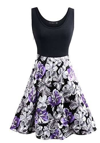 Summer Vintage Sleeveless Floral Puffy Swing Picnic Dress With Pockets M (Vintage Floral Summer Dress)
