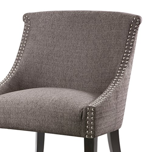 Madison Park FPF18-0157 Caitlyn Accent Chairs-Hardwood, Plywood, Nailhead Swoop Arm Living Armchair Modern Classic Style Family Room Sofa Furniture, Grey (Gray And Accent Yellow Chair)