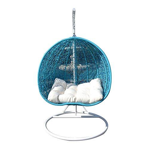 2 Persons Seater Egg Shape Wicker Rattan Swing Lounge