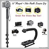 Versatile Full Sized 72'' Monopod + Video Handle Scorpion Grip Bundle for Epson PhotoPC 650 - Padded Handles Supports Multiple Accessories