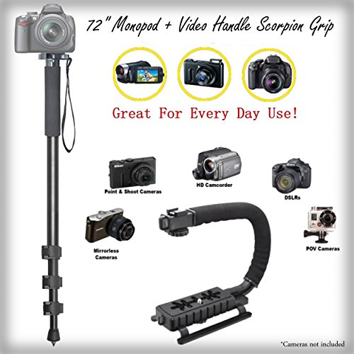 Video Handle Grip + Versatile 72'' Monopod Bundle for Panasonic Lumix DMC-GF8 - Padded Handles Supports Multiple Accessories by iSnapPhoto