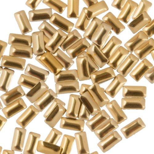 Zink Color Nail Art Gold Rectangle Metal Stud Large 50Pc. Embellishment ()