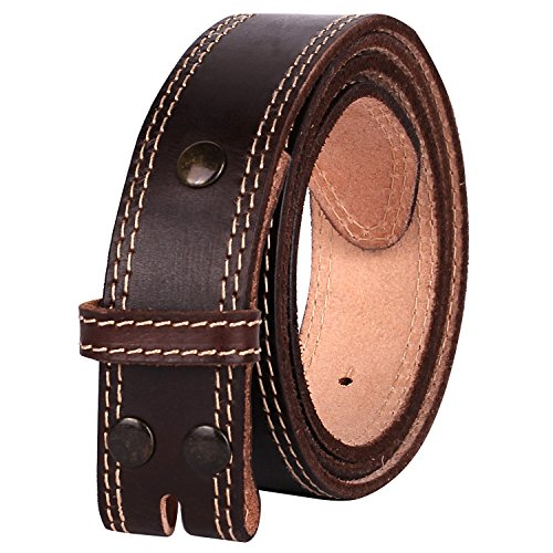 NPET Mens Leather Belt Double Stitched Full Grain Vegetable Tanned Belts (Strap Belt Brown)