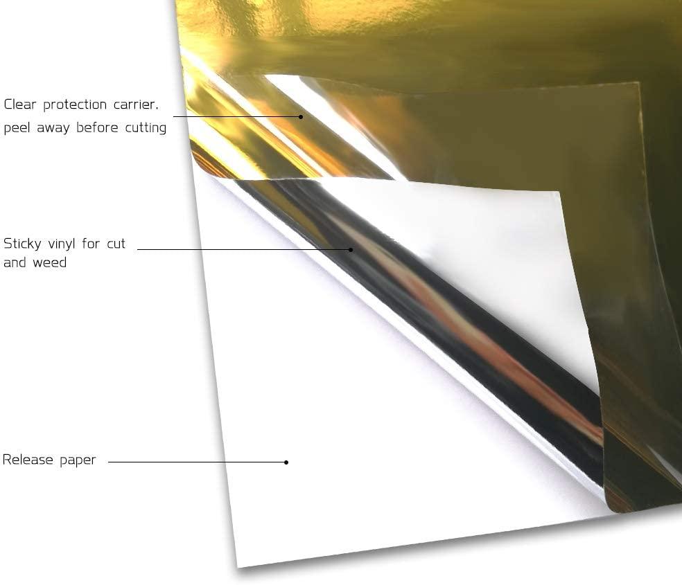 Holographic Craft Vinyl Gold Adhesive Vinyl Roll Huge Glossy Adhesive Permanent Gold Chrome Cutting Vinyl 1x5ft Vinyl Works with Cricut and Other Cutters