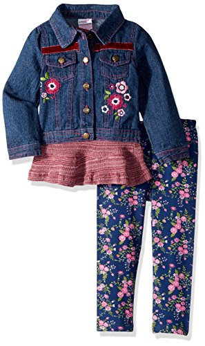 Nannette Toddler Girls' 3 Piece Denim Jacket Set with with Tee and Legging, Red, 2T
