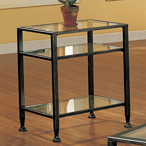 037732087726 - Southern Enterprises Bunching Glass Side End Table, Black with Silver Distressed Finish carousel main 2