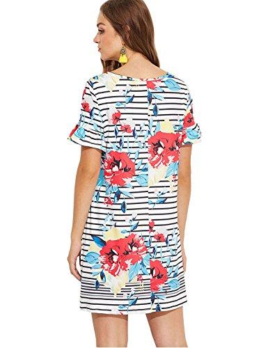 Summer Romwe Print Sleeve Beach Floral Dress Women's White Short Loose Casual Tunic wAfAqSX