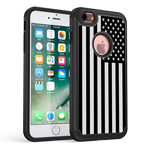 iPhone 6S Case,iPhone 6 Case,Rossy Black White American Flag Pattern Shock-Absorption Hard PC and Inner Silicone Hybrid Dual Layer Armor Defender Protective Case Cove for Apple iPhone 6S/6