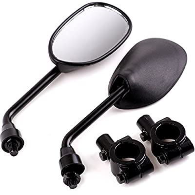 "XYZCTEM Black Retro Style Side Rearview Mirror w/ 7/8"" Handlebar Mount 8mm Adaptor For Mountain Bike BMX Bicycle Motorcycle Dirt Bike ATV Cruiser Chopper-Pair"