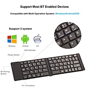 Portable Folding Keyboard, Geyes Ultra Slim Wireless BT Foldable Keyboard with Carry Pouch and Cell Phone Stand for IOS Android Windows, Pocket Size, Aircraft Aluminum Alloy, Black