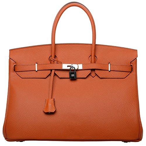 Cherish Kiss 40Cm Oversized Padlock Business Office Top Handle Handbags  40Cm With Silver Hardware  Orange Silver Hardware