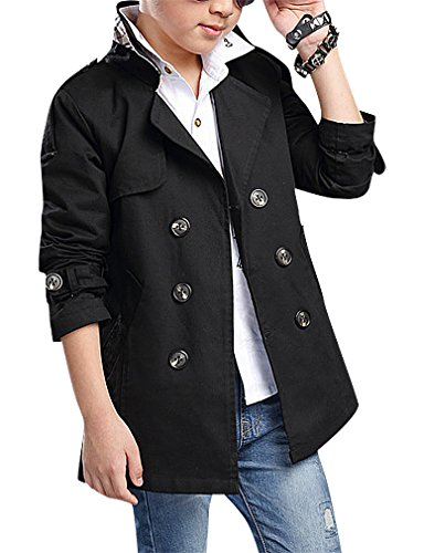 Pupik, Boys Rusty Beige Black Double Breasted Self Belt Notch Collar Trench Coat, Black 14