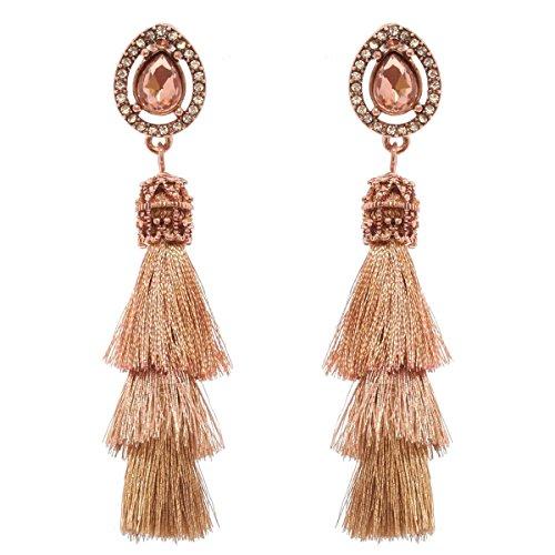 Women's Victorian Style Teardrop Stone 3 Layered Tassel Dangle Pierced Earrings, Rose Gold-Tone (3 Stone Gold Tone Earrings)