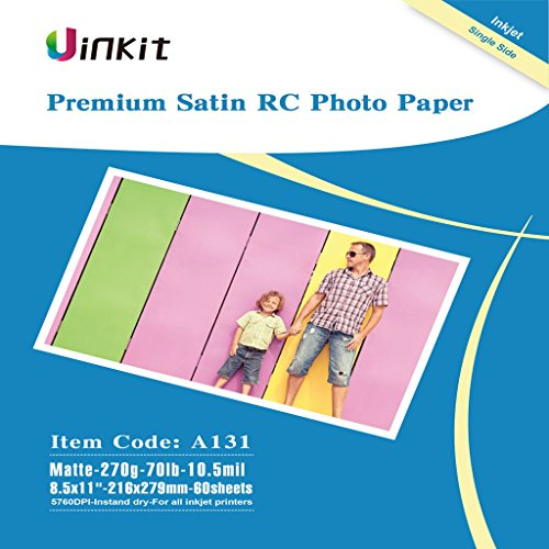 RC Premium Photo Paper Satin - 8.5x11 Matt Photographic Paper 100% Waterproof - Uinkit 60Sheets For Inkjet Printing