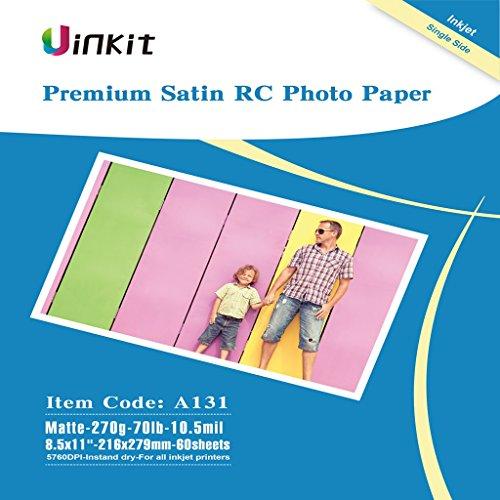 RC Premium Photo Paper Satin - 8.5x11 Matt Photographic Paper 100% Waterproof - Uinkit 60Sheets For Inkjet Printing