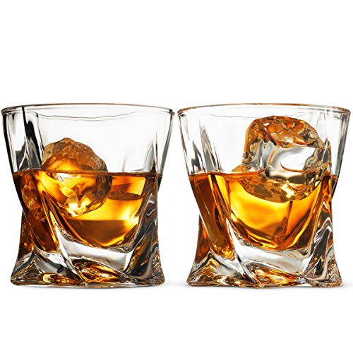 European Style Cocktail and Whiskey Glass Set of 2 - With Magnetic Gift Box - Aristocratic Exquisite Quadro Design Whiskey Glasses 10 Oz. - for Liquor Alcohol Bourbon Scotch & Old fashioned Cocktails