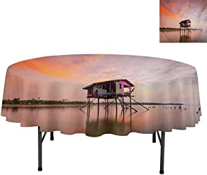 "Aishare Store Waterproof Tablecloth, Single Fishing House at Sunset After Flash Flood Water i, Tablecloth for Home Kitchen Dining Room, Round 54"", Multicolor"