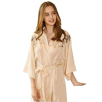 HUIFANG Peony Bordado Sexy Camisón Mujer Verano Pasarela Pijamas De Seda Kimono Japonés Albornoz (Color : Beige, Tamaño : One Size): Amazon.es: Hogar