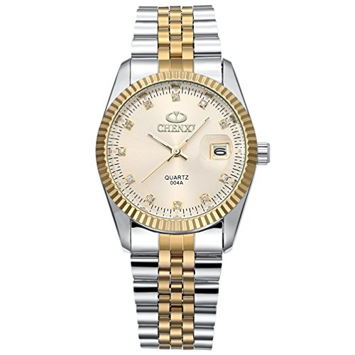 Men's Unique Stainless Steel Band Wrist Watch Classic Round Gold Silver Two Tone Diamond Paved Analog Quartz Business Casual Dress Sport Watches Waterproof - Gold