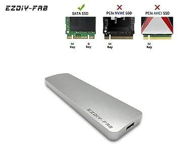 EasyDiy USB-C M.2 SATA SSD Caso Externo con Type C + Type A Cable,