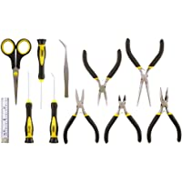 General Tools PTS1 Precision Tool Set for Crafting, Hobbies, Jewelry and Home Repair, 11 Pieces Including Mini Pliers, Screwdrivers, Pick, Soft Tailor Cloth Tape Rule, Scissors and Tweezers
