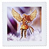 3dRose Dream Essence Designs-Angels - Beautiful Guardian Angel in Armor with clouds and gates of heaven - 20x20 inch quilt square (qs_262329_8)