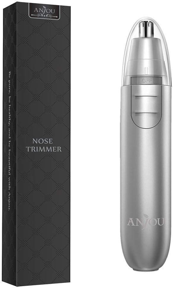Cortapelos de Nariz y Oreja con LED Hojas de Acero Inoxidable de Anjou Afeitadora para Nariz y Pelo Facial Cabeza Desmontable Lavable 2 Pila AA- Plata