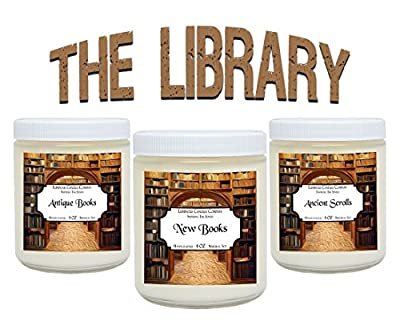 Scented Candles The Library Set - Includes Antique Books, New Books and Ancient Scrolls - 3 x 4 oz Soy Scented Candles Literary Gifts Novel Lovers