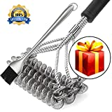 Jomaster Grill Brush And BBQ Cleaning Scraper, 18'' 100% safe Bristle Free Barbecue Grill, Stainless Steel Brush Grill Cleaner for All kinds of BBQ Grill+12 Inch BBQ Grill Busting Brush Gift