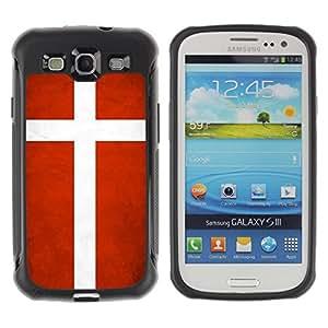 Shell-Star ( National Flag Series-Denmark ) Hybrid Heavy Duty Shockproof Ballistic Fundas Cover Cubre Case para Samsung Galaxy S3 III / i9300 / i717