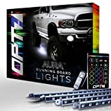 running board light strip - Aura Running Board Nerf Lights by OPT7 Lighting - Side Bar Step Light LED Kit for Trucks, SUVs, RV, & Big Rigs - 4 Bars, 16 Color Options, Flash Settings, Sound Sync Mode & 2 Remotes - 1 YR Warranty