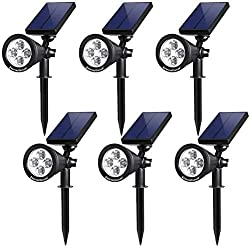 InnoGear Upgraded Solar Lights 2-in-1 Waterproof Outdoor Landscape Lighting Spotlight Wall Light Auto On/Off for Yard Garden Driveway Pathway Pool,Pack of 6 (White Light)