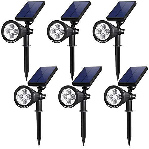 InnoGear Upgraded Solar Lights 2-in-1 Waterproof Outdoor Landscape Lighting Spotlight Wall Light Auto On/Off for Yard Garden Driveway Pathway Pool, Pack of 6 (White Light)