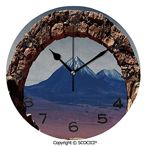 SCOCICI Print Round Wall Clock, 10 Inch South American Desert Landscape with Mountains Seen from Stone Arch Decorative Quiet Desk Clock for Home,Office,School ()