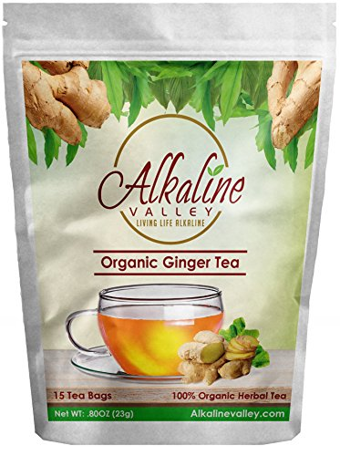 Alkaline Food (Ginger Tea Organic - 100% Alkaline - 15 Unbleached/Chemical-Free Ginger Tea Bags - Caffeine-Free, No GMO)