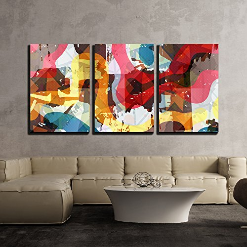 - wall26 - 3 Piece Canvas Wall Art - Vector - Graffiti Beautiful Abstract Background Vector Illustration - Modern Home Decor Stretched and Framed Ready to Hang - 24