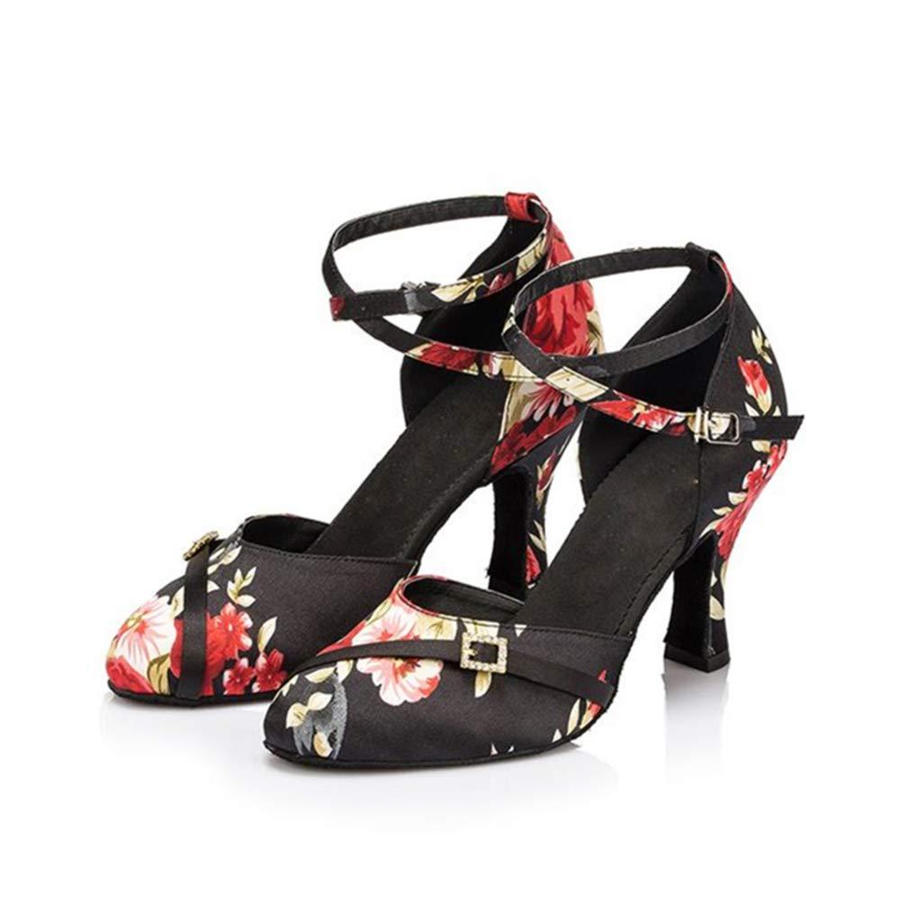 WHL.LL Frauen Satin Lateinische Tanzschuhe Mode Mode Mode Drucken Metall Schnalle Moderne Tanzschuhe Hoher Absatz Gemütlich Weicher Boden Tanzschuhe (Absatzhöhe  7cm) 0f5bbc