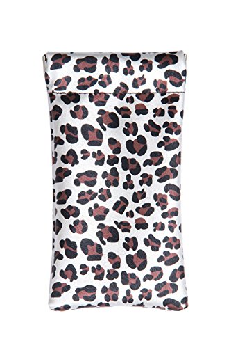 Lucky Leaf Sunglasses Goggles Pouch Case Women Eyeglass Holder with Cleaning Cloth (Leopard (Leopard Leaf)
