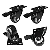 2'' AIYUE Heavy Duty Swivel Caster Wheels 360 Degree Top Plate with Brake (660Lbs) Black - Pack of 4