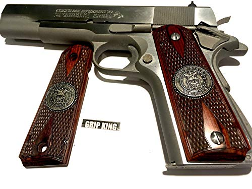 (1911 GRIPS,U.S. AIR FORCE ALL METAL MEDALLIONS. RARE BURLED ROSEWOOD WITH FANCY EDGE. FITS COLT,RUGER,TAURUS,SPRINGFIELD,REMINGTON,SIG,PARA,WILSON,CLONES. SALE $43.73)