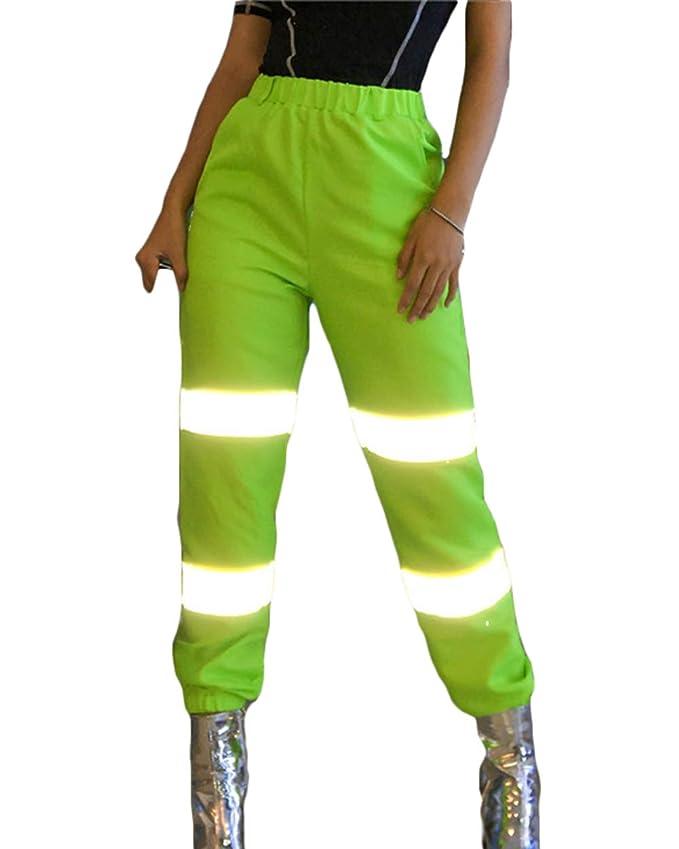 Pantalón neón para mujer con rayas reflectantes