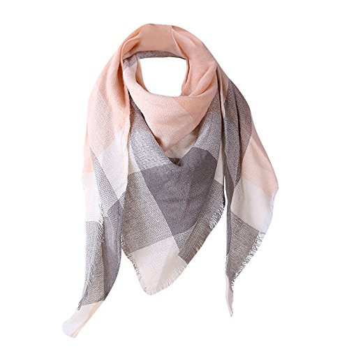 (Sttech1 Women Tartan Scarf Stole, Autumn Plaid Blanket Checked Scarves Wraps Shawl Big Grid Stitching Color Shawl Scarves Scarf (Pink))