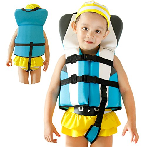Blue Kids Swim Vest, Aegend Swimming Float Vest Baby Learn-to-Swim Pool Floats With Safety Strap for 1-3yr Boys Girls, Fit 22-35 lbs, One size, (Life Vest Pool)