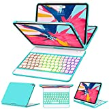 iPad Pro 11 Case with Keyboard 2018-360 Rotatable - Wireless BT - Backlit 17 Color - Auto Sleep Wake - Thin & Light - iPad Case with Keyboard【Support Apple Pencil 2nd Gen Charging】
